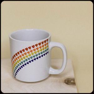 VINTAGE Rainbow Hearts Love White Coffee Tea Mug